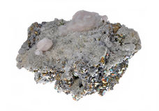 Beautiful cluster of pyrite. Quartz, galena, quartz pink Royalty Free Stock Photo