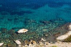 Beautiful coast. A beautiful coast in Greece with rocks and blue sea Stock Photos
