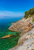Beautiful coast and Adriatic Sea with Transparent Blue Water near Senj, Croatia Royalty Free Stock Images