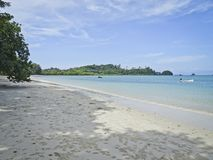 Beautiful coast with azure sea and white sand, Blue sky with cirrus clouds, copy space. Thailand stock image