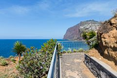 Beautiful coast of Madeira with hiking trail Stock Images