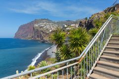 Beautiful coast of Madeira Island with hiking trai Stock Photo