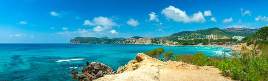 Seaside landscape of Paguera on Majorca Spain, panorama view. Beautiful coast at Peguera, seaside beach on Mallorca island, Mediterranean Sea Spain stock photo