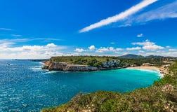 Beautiful coast seascape at beach of Cala Romantica on Majorca island, Spain royalty free stock images