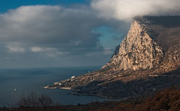 Beautiful coast of southern coast of Crimea. Coast of southern coast of Crimea, rock the Large sum Stock Photos