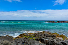 Beautiful coast of a volcanic island Lanzarote, horizontal Royalty Free Stock Images