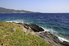 Beautiful coast washed by the Aegean Sea. Stock Photos