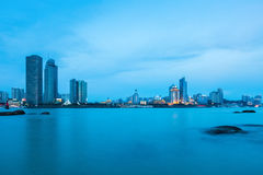 Beautiful coastal city of xiamen skyline in nightfall Stock Photography