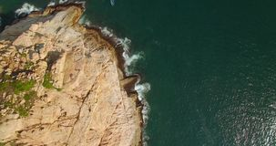 Beautiful coastal cliffs are recorded with drones. Good video quality recorded with drone stock video footage