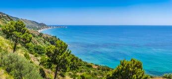 Beautiful coastal landscape at the Cilentan Coast, Campania, Italy Royalty Free Stock Photography
