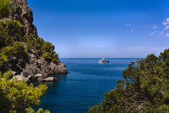 Beautiful coastal landscape in palm of mallorca on the Mediterra Royalty Free Stock Photo