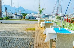 The coastal restaurant of Kemer, Turkey stock photos