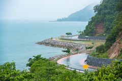 Beautiful Coastal Road with Mountain sea beach landscape in Chan. Thaburi Province, Thailand stock photography
