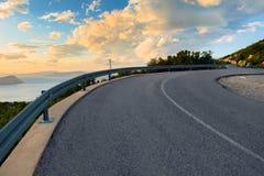 Beautiful coastal road at sunset Royalty Free Stock Image