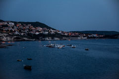 Beautiful coastal town in the evening royalty free stock photography