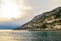 Amalfi Coast. Beautiful coastal towns of Italy - scenic Amalfi town. Famous destination location for tourists visiting Italy royalty free stock images
