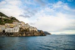 Amalfi Coast. Beautiful coastal towns of Italy - scenic Amalfi town. Famous destination location for tourists visiting Italy stock photos