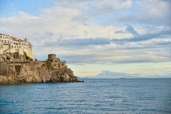 Amalfi Coast. Beautiful coastal towns of Italy - scenic Amalfi town. Famous destination location for tourists visiting Italy royalty free stock photography