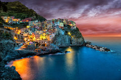 Beautiful coastal village Manarola, Liguria, Italy. Royalty Free Stock Images