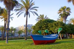 Coastal promenade in Salou, Spain. Beautiful coastal walk and promenade in Salou resort, Spain royalty free stock photography