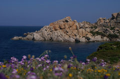 Beautiful coastline. Cala Spinosa, Sardinia, Italy. Focus is on rocks Stock Images