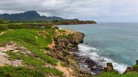 Beautiful coastline along Mahaulepu Heritage Trail in Kauai Island Stock Images