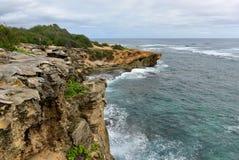Beautiful coastline along Mahaulepu Heritage Trail in Kauai Island Royalty Free Stock Photography