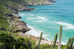 Coastline of Arraial do Cabo, Rio de Janeiro, Brazil. Beautiful coastline of Arraial do Cabo in summertime, Rio de Janeiro, Brazil stock image