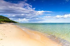 Beautiful coastline of Baltic sea. Beach at Baltic sea in summer time, Sweden Royalty Free Stock Photo