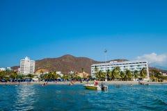 Beautiful coastline beach view of Santa Marta Royalty Free Stock Photography