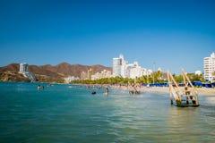 Beautiful coastline beach view of Santa Marta Stock Photo