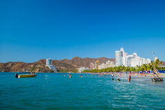 Beautiful coastline beach view of Santa Marta Stock Photos