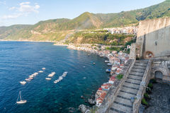 Beautiful coastline of Chianalea in Scilla, Calabria.  royalty free stock photos
