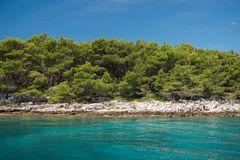 Beautiful coastline with green forest, stones and blue sky and sea water. Natural wallpaper. Adriatic coastline. Croatia. Mediterranean sea royalty free stock images