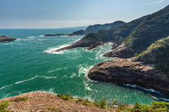 Beautiful coastline of Hyuga cape in Miyazaki, Kyushu. stock photo