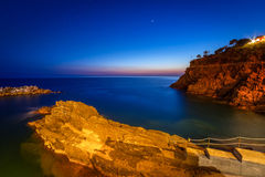 Beautiful coastline of Ligurian Sea at dusk Stock Photo