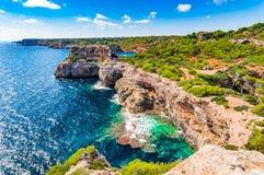 Beautiful coastline on Majorca island Spain Mediterranean Sea. Beautiful coastline scenery on Majorca island, Spain Mediterranean Sea, rocky coast cliffs of Cala Stock Images