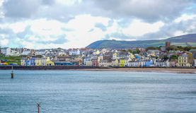 Beautiful coastline with the seaside town of Peel, Isle of Man Royalty Free Stock Photography