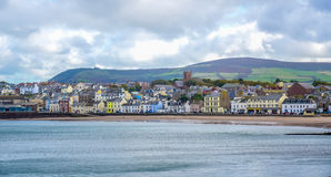 Beautiful coastline with the seaside town of Peel, Isle of Man Stock Images