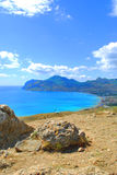 beautiful coastline, view on Karadag, Koktebel.sea, mountain, nature, sky, landscape, hill, blue, crimea, water, travel, green, to Royalty Free Stock Photos