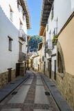 Beautiful cobblestone street in Rubielos de Mora, Teruel, Spain. Clear and sunny day.  stock images