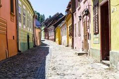 Beautiful cobblestone street  in Romania. Beautiful cobblestone street  in  Sighisoara Romania stock photos