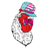 Beautiful cock in a cap and tie. Vector illustration for a poster, postcard, or print on clothes. Symbol of the year. Beautiful cock in a cap and tie. Vector Royalty Free Stock Photos