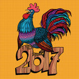 Beautiful cock 2017 new year. Pop art retro vector Royalty Free Stock Image