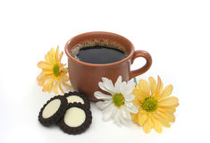 A beautiful coffee scene. A beautiful coffee breakfast with cookies and flowers.  Look at my gallery for more delicious meals Royalty Free Stock Photo