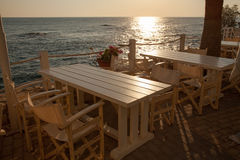 Beautiful coffee terrace, sea view royalty free stock image
