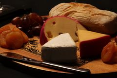 Beautiful cold cuts board with brie cheese, gouda cheese, ciabatta, grapes and damascus front view stock image