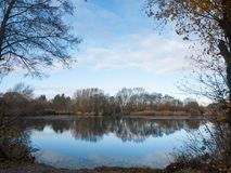 Beautiful cold lake scene autumn branches water surface reflecti Stock Photography