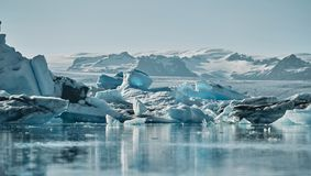 Beautiful cold landscape picture of icelandic glacier lagoon bay, Royalty Free Stock Images