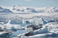 Beautiful cold landscape picture of icelandic glacier lagoon bay, Royalty Free Stock Photos